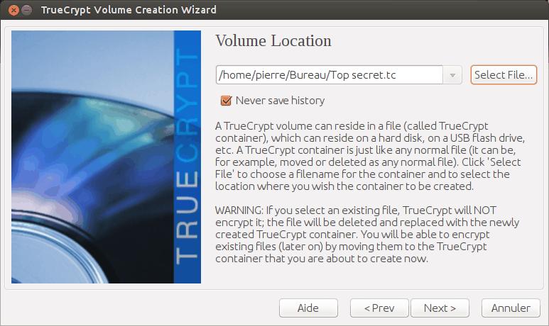 L'assistant de création d'un volume TrueCrypt, étape 3