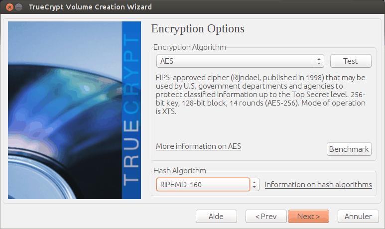 L'assistant de création d'un volume TrueCrypt, étape 4